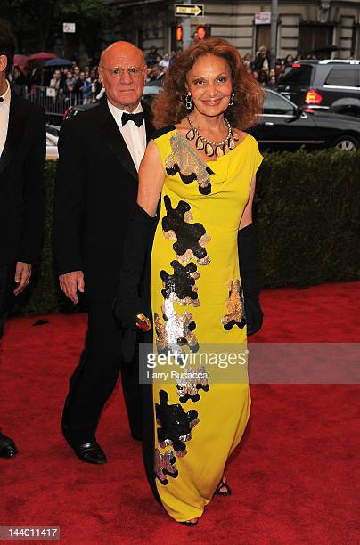 Barry Diller and designer Diane von Furstenberg attend the 'Schiaparelli And Prada Impossible Conversations' Costume Institute Gala at the...