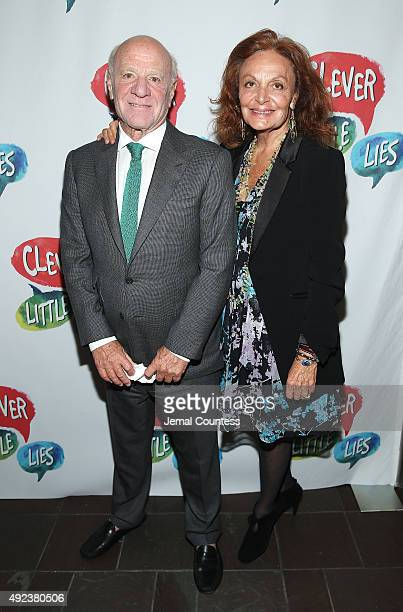 Barry Diller and designer Diane von Furstenberg attend the opening night of 'Clever Little Lies' at The Westside Theatre on October 12 2015 in New...