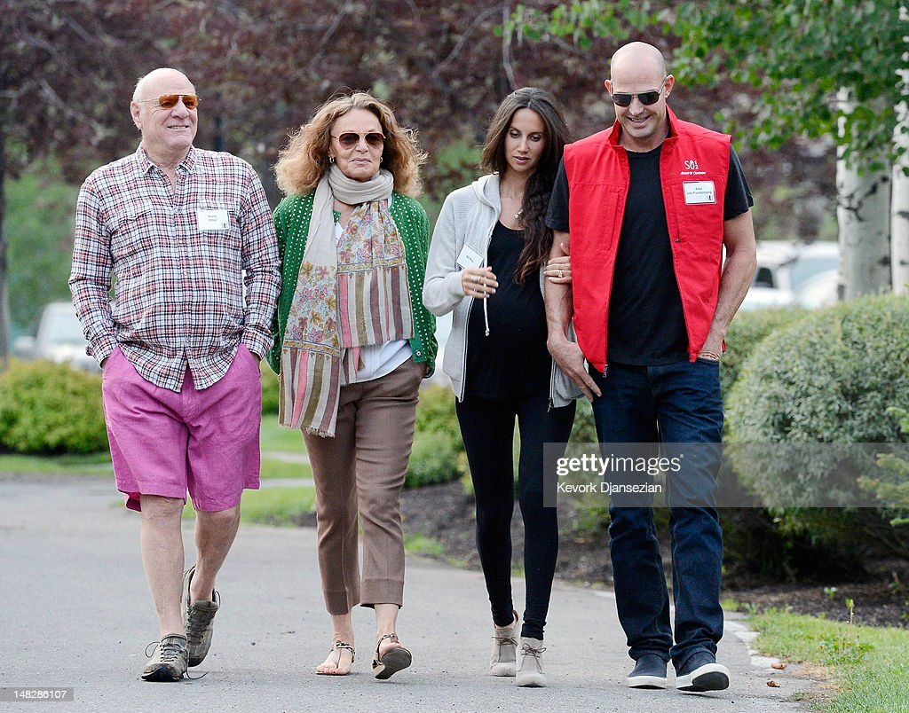 Barry Diller (L), chairman of IAC/InterActiveCorp., his wife, designer Diane Von Furstenberg, Ali Kay (2ndR) and Alex Von Furstenberg, (R) son of fashion designer Diane Von Furstenberg, walk to the morning meeting during the Allen & Company Sun Valley Conference on July 13, 2012 in Sun Valley, Idaho. The conference has been hosted annually by the investment firm Allen & Company each July since 1983. The conference is typically attended by many of the world's most powerful media executives.
