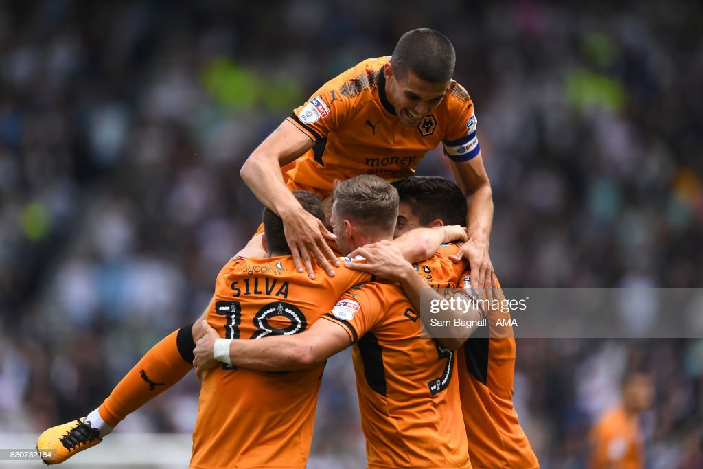 Barry Douglas of Wolverhampton Wanderers celebrates after scoring a goal to make it 0-1 during the Sky Bet Championship match between Derby County and Wolverhampton at iPro Stadium on August 12, 2017 in Derby, England.