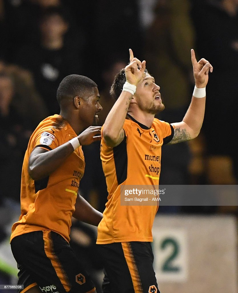Barry Douglas of Wolverhampton Wanderers celebrates after scoring a goal to make it 1-0 during the Sky Bet Championship match between Wolverhampton and Leeds United at Molineux on November 22, 2017 in Wolverhampton, England.