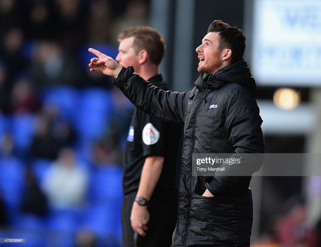 Barry Ferguson manager of Blackpool during the Sky Bet Championship match between Ipswich Town and Blackpool at Portman Road on February 15 2014 in...