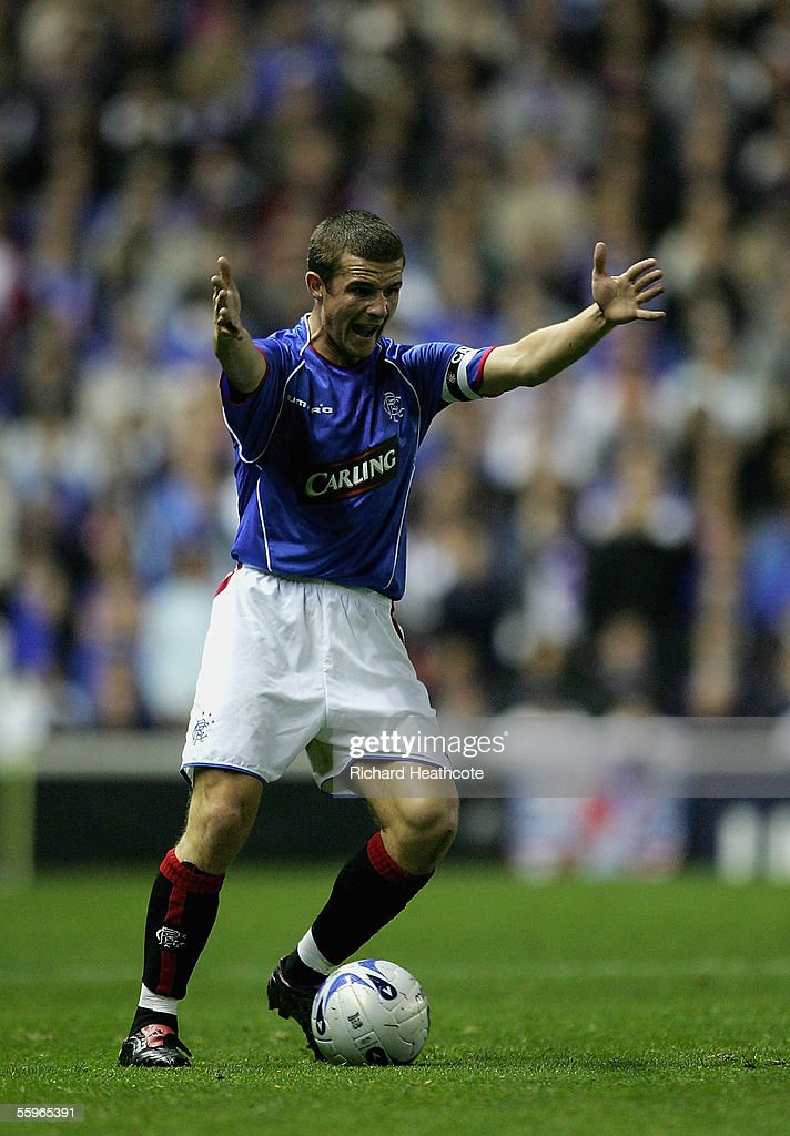 Barry Ferguson, the Rangers Captain, vents his frustration during the UEFA Champions League group H match between Glasgow Rangers and Artmedia Bratislava held at Ibrox, October 19, 2005. in Glasgow, Scotland.