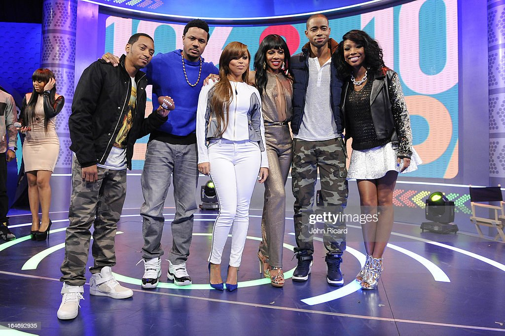 Barry Floyd, Hosea Chanchez, Lauren London, Wendy Raquel Robinson, Jay Ellis and Brandy Norwood of 'The Game' visit BET's 106 & Park at BET Studios on March 26, 2013 in New York City.
