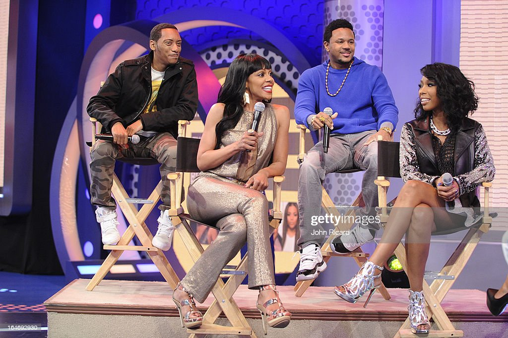 Barry Floyd, Hosea Chanchez, Wendy Raquel Robinson and Brandy Norwood of 'The Game' visit BET's 106 & Park at BET Studios on March 26, 2013 in New York City.