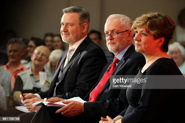 Barry Gardiner Jeremy Corbyn and Emily Thornberry look on as Jeremy Corbyn is set to deliver a speech on Labour's plan for Brexit negotiations at...