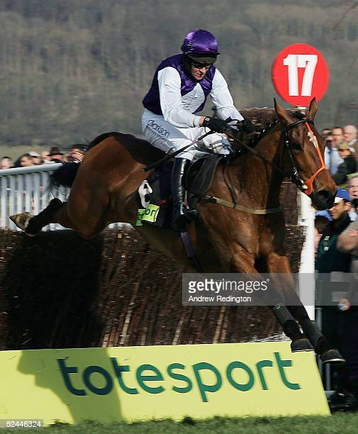 Barry Geraghty and Kicking King safely negotiate the last fence on their way to victory in the Totesport Cheltenham Gold Cup Chase on the final day...