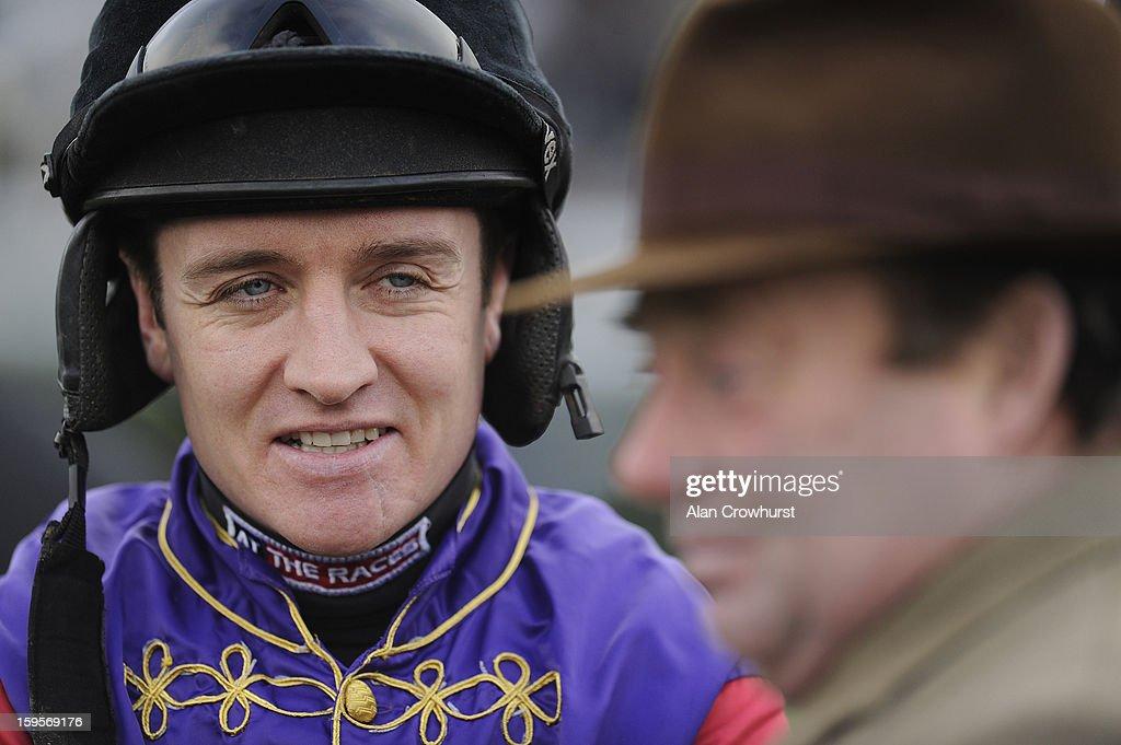 Barry Geraghty at Newbury racecourse on January 16, 2013 in Newbury, England.