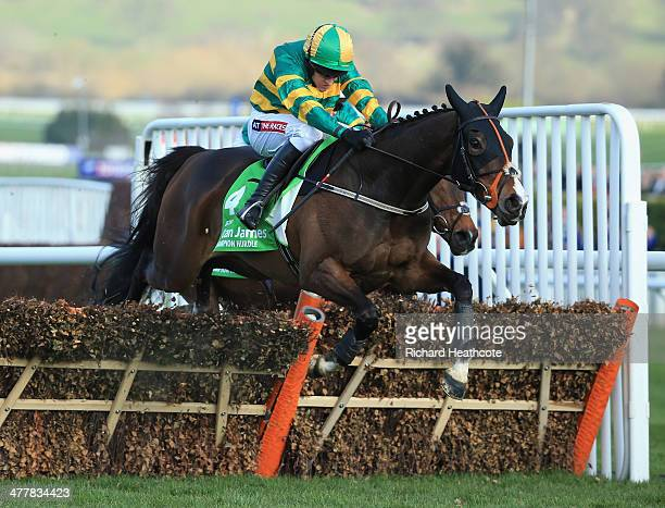 Barry Geraghty on Jezki jumps the last on his way to victory in The Stan James Champion Hurdle Challenge Trophy during The Festival Champion Day at...