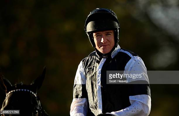 Barry Geraghty on Sign of Victory after winning The William Handicap Hurdle at Ascot Racecourse on November 1 2014 in Ascot England
