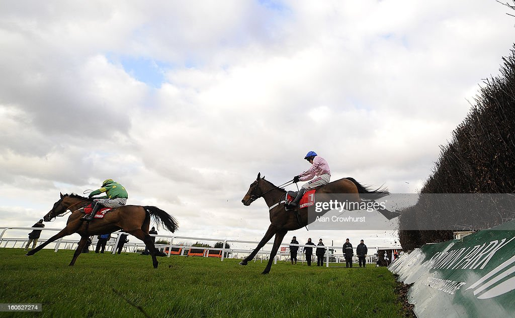 <a gi-track='captionPersonalityLinkClicked' href=/galleries/search?phrase=Barry+Geraghty&family=editorial&specificpeople=198943 ng-click='$event.stopPropagation()'>Barry Geraghty</a> riding Captain Conan (R) clear the last to win The Betfred Mobile Lotto Challengers Novices' Steeple Chase from Third Intention (L) at Sandown racecourse on February 02, 2013 in Esher, England.