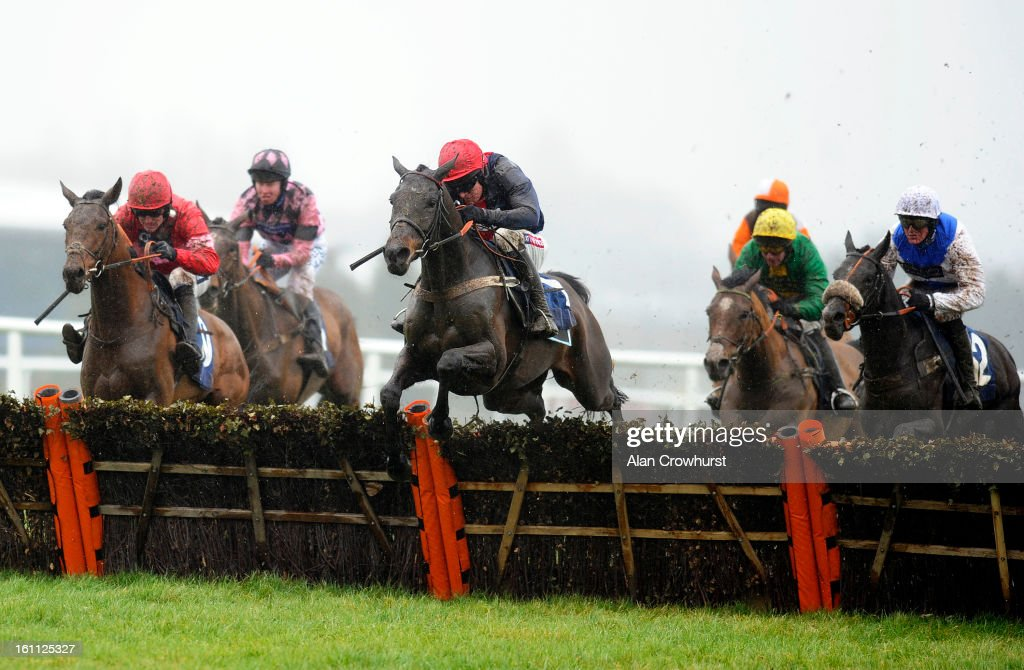 <a gi-track='captionPersonalityLinkClicked' href=/galleries/search?phrase=Barry+Geraghty&family=editorial&specificpeople=198943 ng-click='$event.stopPropagation()'>Barry Geraghty</a> riding Chatterbox (C) clear the last to win The Visit betfair.com/racingoffers Novices' Hurdle Race at Newbury racecourse on February 09, 2013 in Newbury, England.