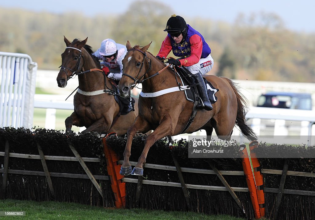 <a gi-track='captionPersonalityLinkClicked' href=/galleries/search?phrase=Barry+Geraghty&family=editorial&specificpeople=198943 ng-click='$event.stopPropagation()'>Barry Geraghty</a> riding Close Touch (R) clear the last to win The Felix Rosenstiel's Widow & Son Introductory Hurdle Race at Ascot racecourse on November 23, 2012 in Ascot, England.