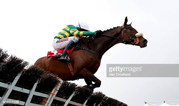 Barry Geraghty riding Don't Touch It clear the last to win The Herald Champion Novice Hurdle at Punchestown racecourse on April 26 2016 in Naas...