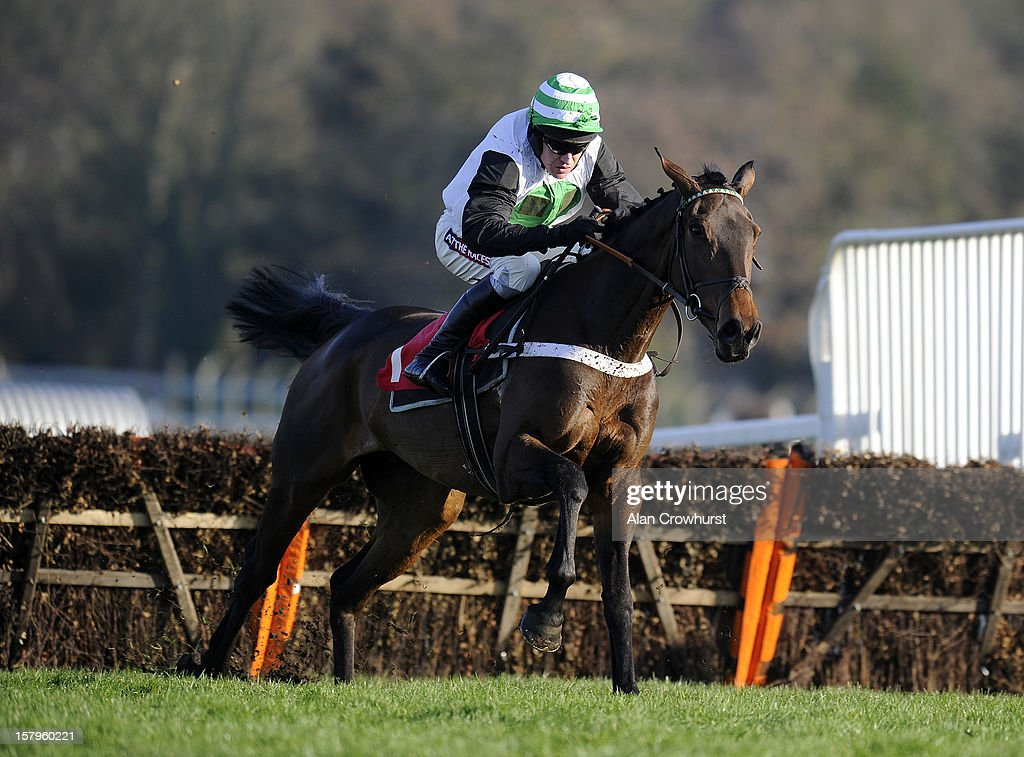 Barry Geraghty riding Golden Hoof clear the last to win John Oakley 50th Birthday 'National Hunt' Novices' Hurdle at Sandown racecourse on December 08, 2012 in Esher, England.