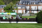 Barry Geraghty riding Hadrian's Approach clear the last to win The bet365 Gold Cup Steeple Chase from Burton Port at Sandown racecourse on April 26...