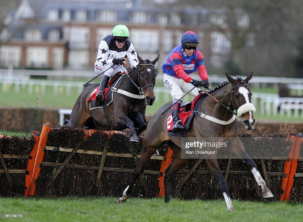 <a gi-track='captionPersonalityLinkClicked' href=/galleries/search?phrase=Barry+Geraghty&family=editorial&specificpeople=198943 ng-click='$event.stopPropagation()'>Barry Geraghty</a> riding Heronry (L) clear the last to win The Oxshott Novices' Handicap Hurdle Race from Liberty Court (R) at Sandown racecourse on February 15, 2013 in Esher, England.