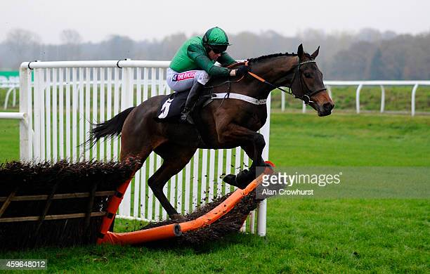 Barry Geraghty riding L'Ami Serge smash through the last hurdle to win The bet365 Intermediate Hurdle Race at Newbury racecourse on November 27 2014...