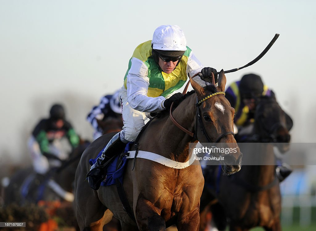 <a gi-track='captionPersonalityLinkClicked' href=/galleries/search?phrase=Barry+Geraghty&family=editorial&specificpeople=198943 ng-click='$event.stopPropagation()'>Barry Geraghty</a> riding Lyvius clear th last to win the Sportingbet Intermediate Hurdle Race at Newbury racecourse on November 29, 2012 in Newbury, England.