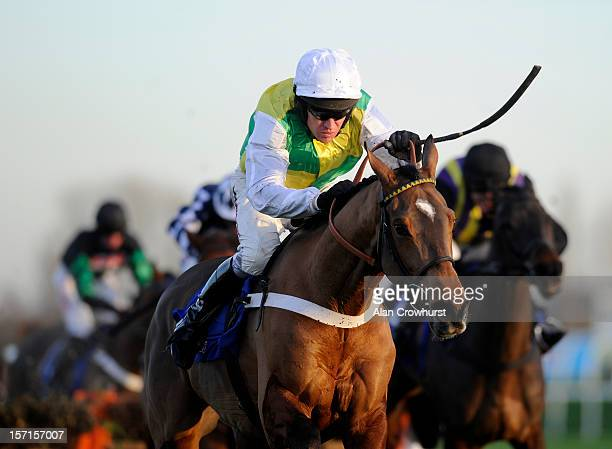 Barry Geraghty riding Lyvius clear th last to win the Sportingbet Intermediate Hurdle Race at Newbury racecourse on November 29 2012 in Newbury...