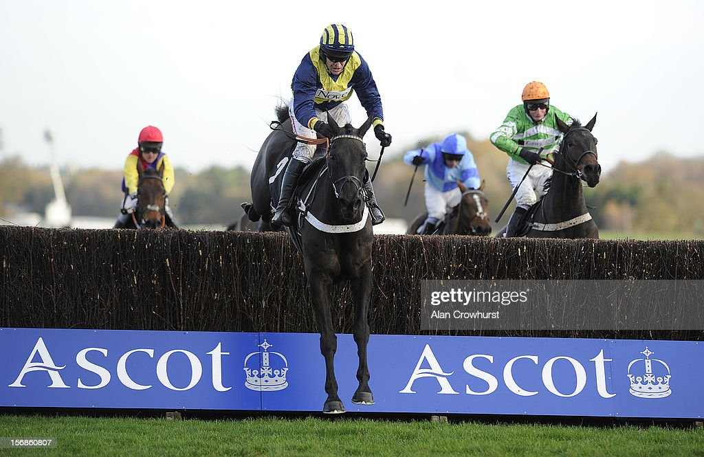 <a gi-track='captionPersonalityLinkClicked' href=/galleries/search?phrase=Barry+Geraghty&family=editorial&specificpeople=198943 ng-click='$event.stopPropagation()'>Barry Geraghty</a> riding Minella Class clear the last to win The David & Toni Eyles Beginners' Steeple Chase at Ascot racecourse on November 23, 2012 in Ascot, England.