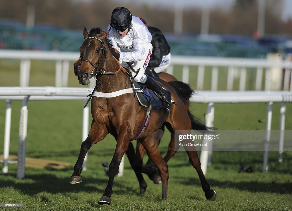 <a gi-track='captionPersonalityLinkClicked' href=/galleries/search?phrase=Barry+Geraghty&family=editorial&specificpeople=198943 ng-click='$event.stopPropagation()'>Barry Geraghty</a> riding Minella Forfitness clear the last to win The £32 Bonus At 32Red.com Maiden Hurdle Race at Doncaster racecourse on February 04, 2013 in Doncaster, England.