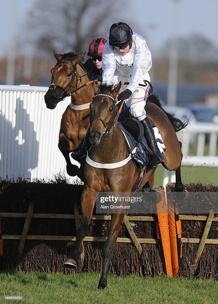 <a gi-track='captionPersonalityLinkClicked' href=/galleries/search?phrase=Barry+Geraghty&family=editorial&specificpeople=198943 ng-click='$event.stopPropagation()'>Barry Geraghty</a> riding Minella Forfitness clear the last to win The £32 Bonus At 32Red.com Maiden HUrdle Race from Zuider Zee (L) at Doncaster racecourse on February 04, 2013 in Doncaster, England.