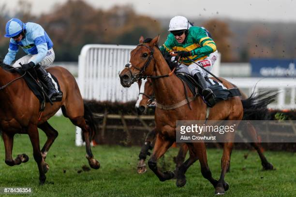 Barry Geraghty riding Mr One More clear the last to win The David Brownlow Charitable Foundation 'Introductory' Hurdle Race at Ascot racecourse on...