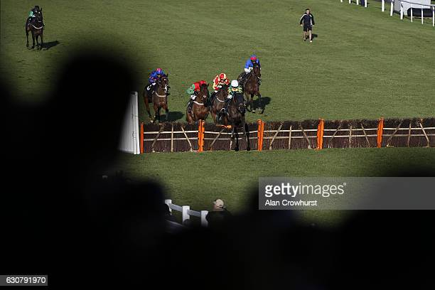 Barry Geraghty riding No Comment clear the last to win The Follow At The Races On Instagram EBF 'National Hunt Novices' Hurdle Race at Plumpton...
