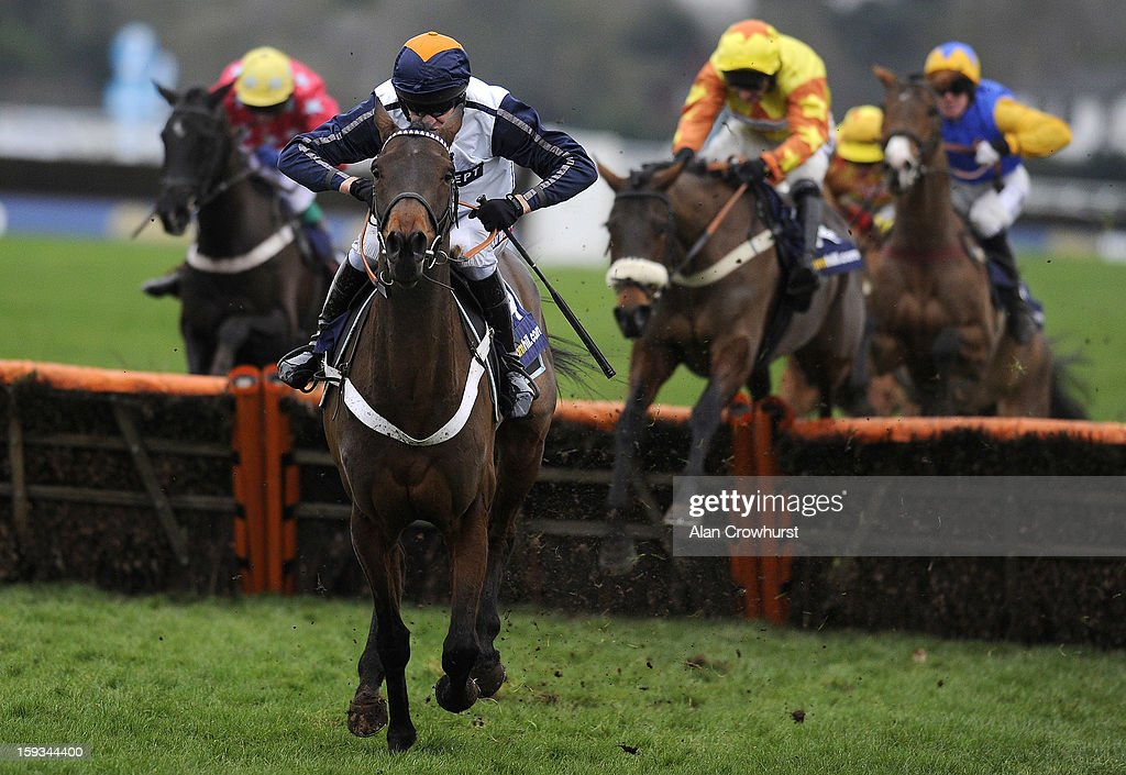 <a gi-track='captionPersonalityLinkClicked' href=/galleries/search?phrase=Barry+Geraghty&family=editorial&specificpeople=198943 ng-click='$event.stopPropagation()'>Barry Geraghty</a> riding Oscara Dara clear the last to win The William Hill Lanzarote Hurdle Race at Kempton racecourse on January 12, 2013 in Sunbury, England.
