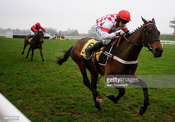 Barry Geraghty riding Riverside Theatre race to win The Betfair Ascot Steeple Chase at Ascot racecourse on February 19 2011 in Ascot England