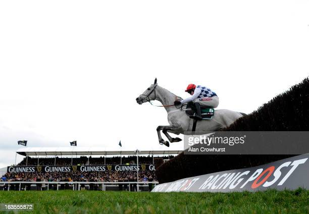 Barry Geraghty riding Simonsig clear the last to win The Racing Post Arkle Challenge Trophy Steeple Chase during Champion Day at Cheltenham...