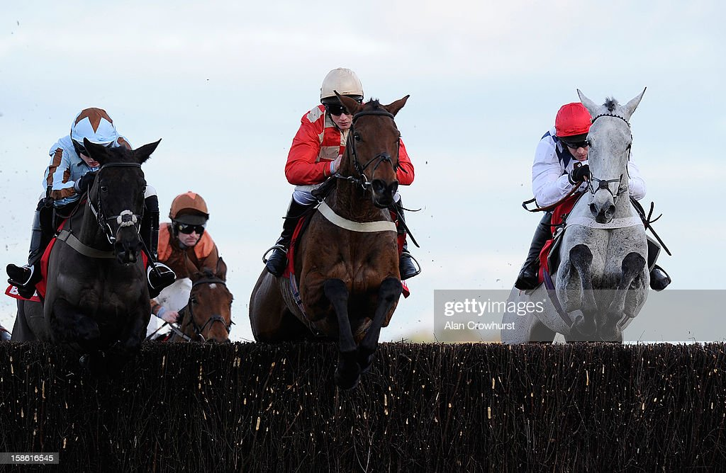 <a gi-track='captionPersonalityLinkClicked' href=/galleries/search?phrase=Barry+Geraghty&family=editorial&specificpeople=198943 ng-click='$event.stopPropagation()'>Barry Geraghty</a> riding Simonsig (R) on their way to winning The Betfred Novices' Steeple Chase at Ascot racecourse on December 21, 2012 in Ascot, England.