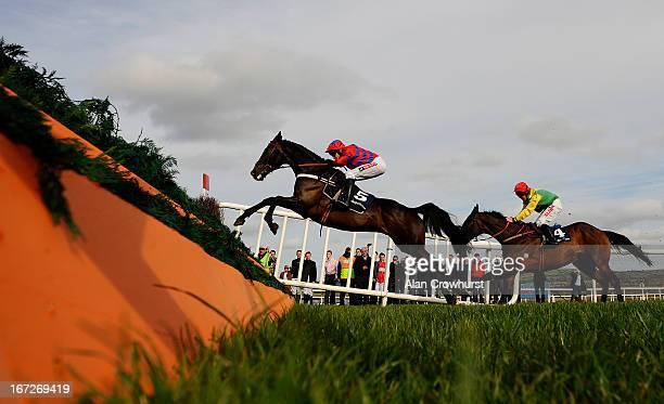 Barry Geraghty riding Sprinter Sacre clear the last to win The Boylesportscom Champion Chase at Punchestown racecourse on April 23 2013 in Naas...