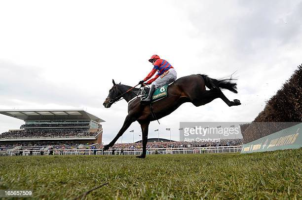 Barry Geraghty riding Sprinter Sacre clear the last to win The John Smith's melling Steeple Chase at Aintree racecourse on April 05 2013 in Liverpool...