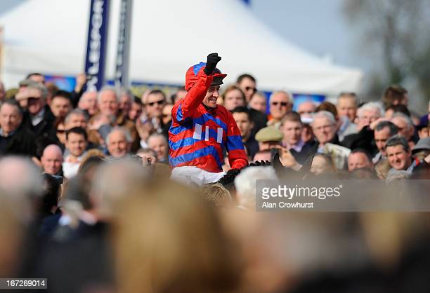 Barry Geraghty riding Sprinter Sacre win The Boylesportscom Champion Chase at Punchestown racecourse on April 23 2013 in Naas Ireland