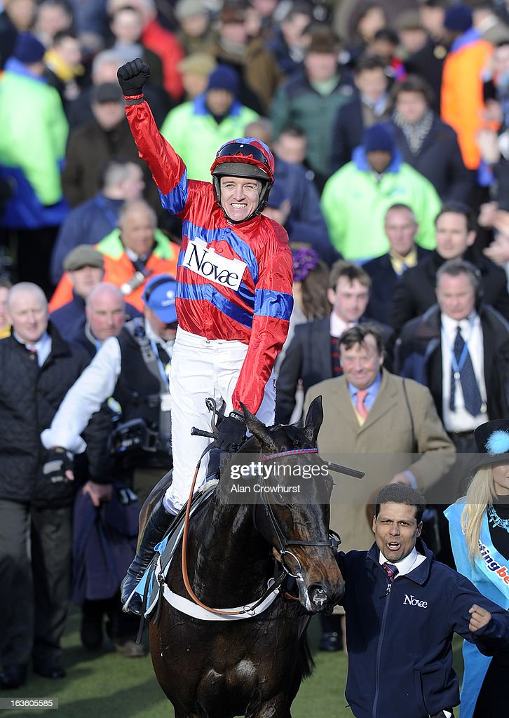 <a gi-track='captionPersonalityLinkClicked' href=/galleries/search?phrase=Barry+Geraghty&family=editorial&specificpeople=198943 ng-click='$event.stopPropagation()'>Barry Geraghty</a> riding Sprinter Sacre win The Sporting Bet Queen Mother Champion Steeple Chase during Ladies Day at Cheltenham racecourse on March 13, 2013 in Cheltenham, England.