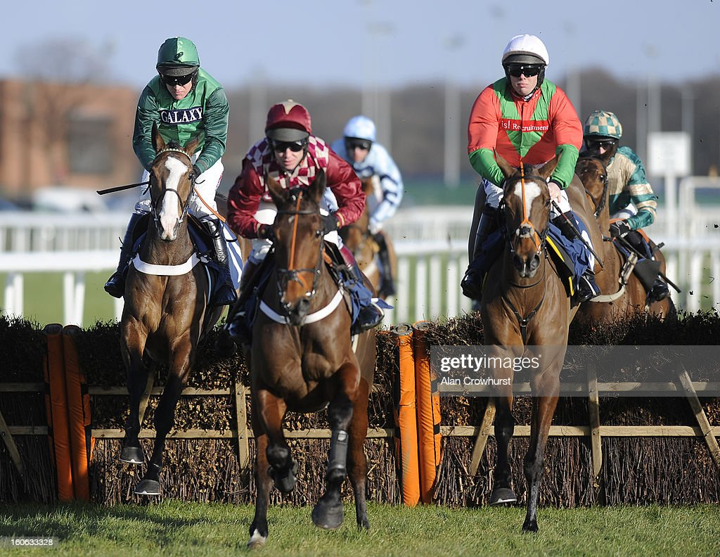 <a gi-track='captionPersonalityLinkClicked' href=/galleries/search?phrase=Barry+Geraghty&family=editorial&specificpeople=198943 ng-click='$event.stopPropagation()'>Barry Geraghty</a> riding Utopie des Bordes (L) clear the first before winning The 32Red casino Mares' Novices' Hurdle Race at Doncaster racecourse on February 04, 2013 in Doncaster, England.