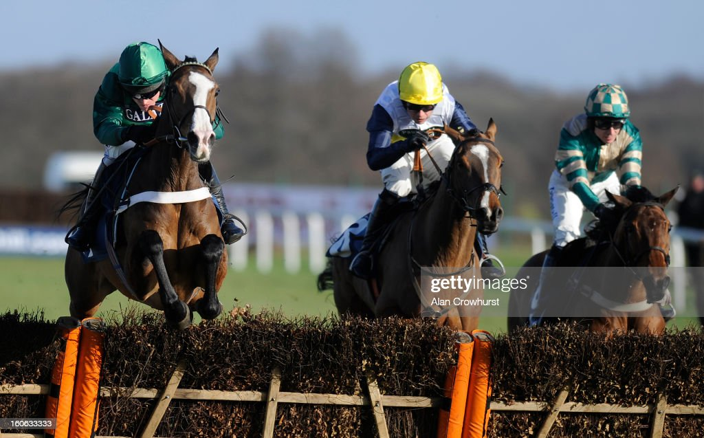 <a gi-track='captionPersonalityLinkClicked' href=/galleries/search?phrase=Barry+Geraghty&family=editorial&specificpeople=198943 ng-click='$event.stopPropagation()'>Barry Geraghty</a> riding Utopie des Bordes (L) clear the last to win The 32Red casino Mares' Novices' Hurdle Race at Doncaster racecourse on February 04, 2013 in Doncaster, England.