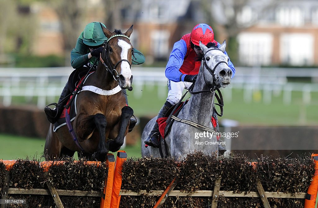 <a gi-track='captionPersonalityLinkClicked' href=/galleries/search?phrase=Barry+Geraghty&family=editorial&specificpeople=198943 ng-click='$event.stopPropagation()'>Barry Geraghty</a> riding Utopie Des Bordes (L) clear the last to win The Jane Seymour Mares' Hurdle Race at Sandown racecourse on February 15, 2013 in Esher, England.