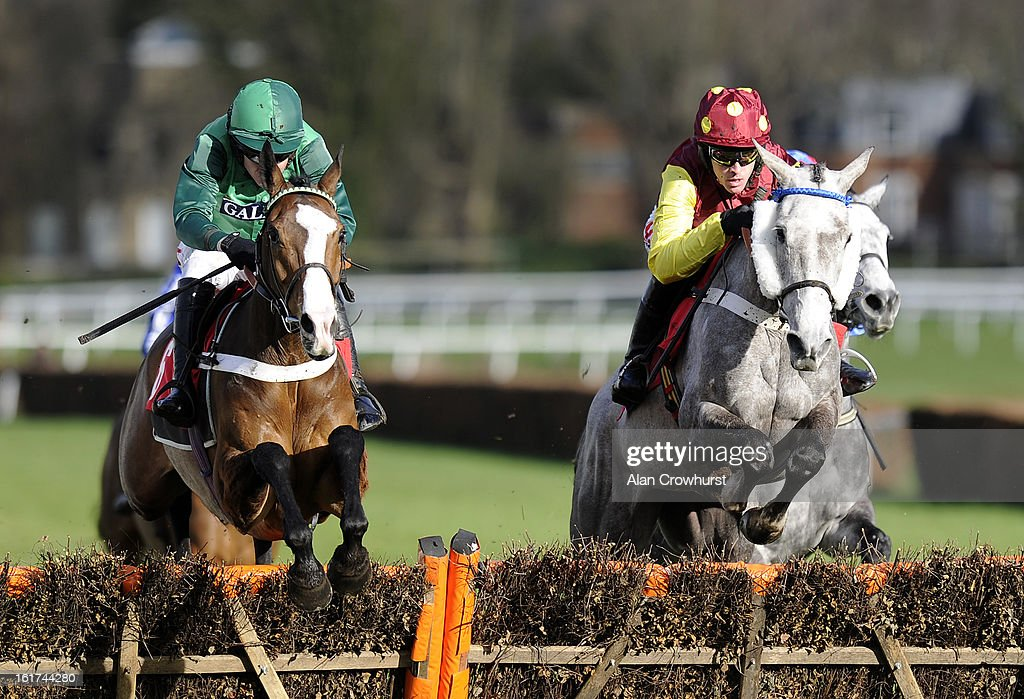 <a gi-track='captionPersonalityLinkClicked' href=/galleries/search?phrase=Barry+Geraghty&family=editorial&specificpeople=198943 ng-click='$event.stopPropagation()'>Barry Geraghty</a> riding Utopie Des Bordes (L) on their way to winning The Jane Seymour Mares' Hurdle Race at Sandown racecourse on February 15, 2013 in Esher, England.