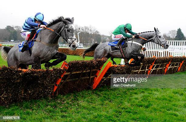 Barry Geraghty riding Vyta Du Roc clear the last to win The Neptune Investment Novices' Hurdle Race at Sandown racecourse on December 05 2014 in...