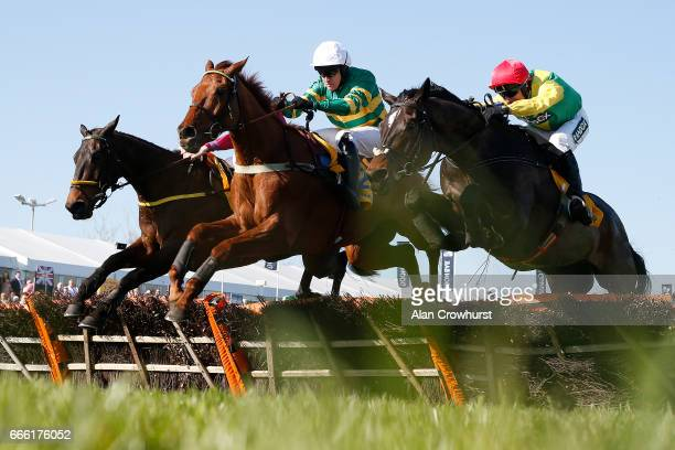 Barry Geraghty riding Yanworth clear the last to win The Ryanair Stayers Liverpool Hurdle Race from Supasundae at Aintree Racecourse on April 8 2017...