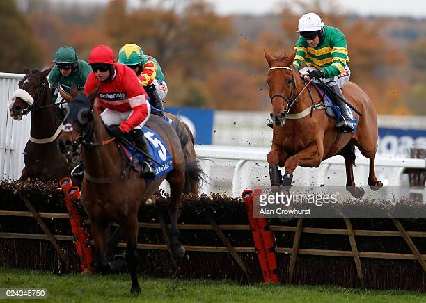 Barry Geraghty riding Yanworth on their way to winning The Coral Hurdle Race at Ascot Racecourse on November 19 2016 in Ascot England