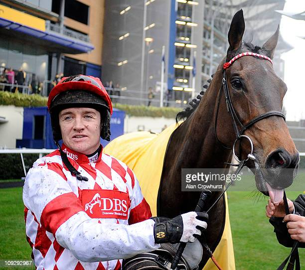 Barry Geraghty with Riverside Theatre after winning The Betfair Ascot Steeple Chase at Ascot racecourse on February 19 2011 in Ascot England