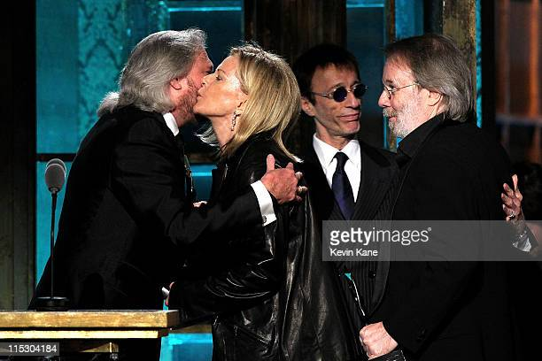 Barry Gibb AnniFrid Princessan Reuss Robin Gibb and Benny Andersson onstage at the 25th Annual Rock and Roll Hall of Fame Induction Ceremony at...
