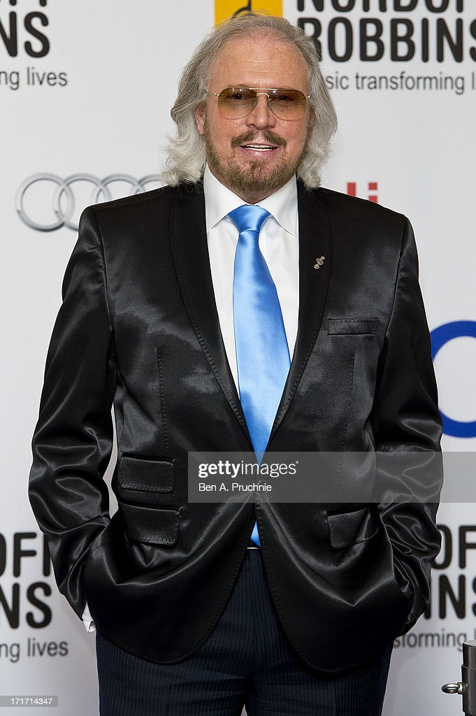 <a gi-track='captionPersonalityLinkClicked' href=/galleries/search?phrase=Barry+Gibb&family=editorial&specificpeople=208122 ng-click='$event.stopPropagation()'>Barry Gibb</a> attends the Nordoff Robbins Silver Clef awards at London Hilton on June 28, 2013 in London, England.