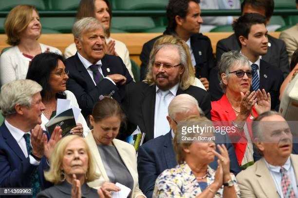 Barry Gibb looks on from the centre court royal box on day eleven of the Wimbledon Lawn Tennis Championships at the All England Lawn Tennis and...