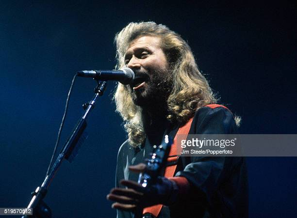 Barry Gibb of the Bee Gees performing on stage at the Wembley Arena in London on the 7th July 1991