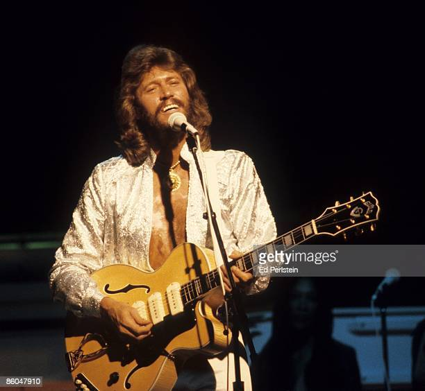 Barry Gibb of the Bee Gees performs at the Oakland Coliseum on July 11 1979 in Oakland California